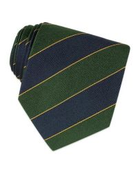 FORZIERI | Navy Blue & Green Bands Woven Silk Tie for Men | Lyst