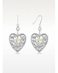 Just Cavalli - Metallic Deco Heart Drop Earrings - Lyst