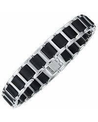 Manuel Zed | Metallic Men's Polished Stainless Steel & Rubber Link Bracelet for Men | Lyst