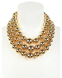 MICHAEL Michael Kors - Metallic Modern Classic Gold Plated Bead Necklace - Lyst