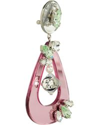 Miu Miu | Pink Swarovski Crystal and Plexiglass Clip Earrings | Lyst