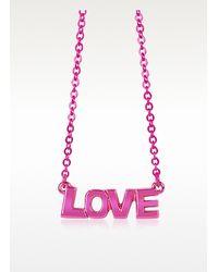 Patrizia Pepe - Pink Brass Love Necklace - Lyst