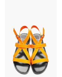 Pierre Hardy   Neon Orange Leather Eh60 Gladiator Sandals for Men   Lyst