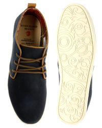 River Island   Blue Suede Piped Desert Boots for Men   Lyst