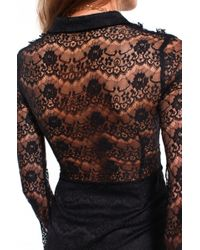 AKIRA - Black Ruffled Lace Mini Dress - Lyst