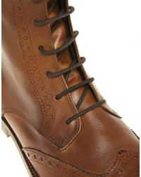 ASOS | Brown Asos Leather Sole Brogue Boots for Men | Lyst