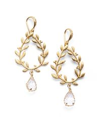 Indulgems | Metallic Rock Crystal Laurel Wreath Drop Earrings | Lyst