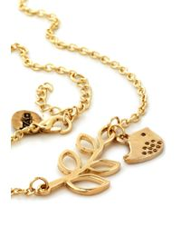 ModCloth - Metallic The Girly Bird Necklace in Gold Leaves - Lyst