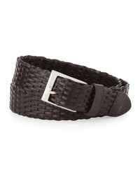 Neiman Marcus | Brown Braided Leather Belt for Men | Lyst