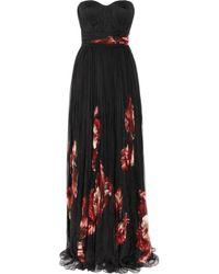 Alexander McQueen | Black Floral-Print Pleated Silk Chiffon Gown | Lyst