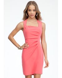 Bebe - Pink Crepe Pleated Asymmetric Dress - Lyst
