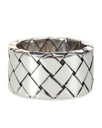 Bottega Veneta | Metallic Intrecciato Sterling Silver Ring | Lyst