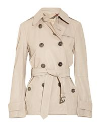 Burberry Brit - Natural Sandwashed-leather Trench Coat - Lyst