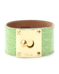 Fendi | Green Crocodile Leather Cuff with Studded Logo Closure | Lyst