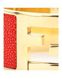 Fendi - Red Logo Cuff With Stingray Leather Inlay - Lyst