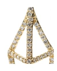 House of Waris - Lantern 18kt Yellow Gold Drop Earrings With White Diamonds - Lyst