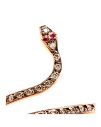 Ileana Makri - Pink 18kt Rose Gold Single Python Ring with Rubies and Champagne Diamonds - Lyst