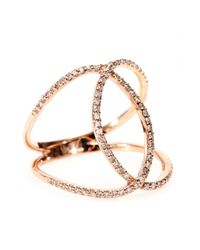 Jacquie Aiche | Pink 14kt Rose Gold Pave White Diamond Overlap Circle Eternity Ring | Lyst