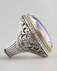 Konstantino | Blue Round Topazbezel Lapis Ring | Lyst