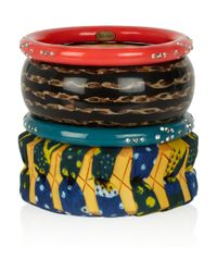 Lulu Frost - Multicolor Set Of Four Bamboo and Resin Bangles - Lyst