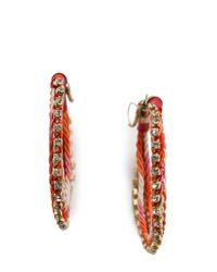 Mango   Pink Woven Hoop Earrings   Lyst