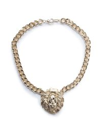 Mango | Metallic Lion Pendant Necklace | Lyst