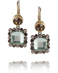 Marc By Marc Jacobs | Gray Dangly Brass and Crystal Earrings | Lyst
