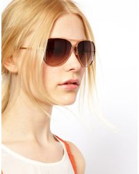 Michael Kors Brown Rose Gold Aviator Sunglasses for men