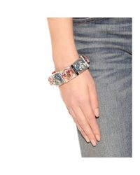 Miu Miu - Metallic Mirrored Crystal Embellished Bracelet - Lyst