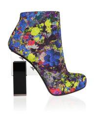 Nicholas Kirkwood | Multicolor Geometricheel Printed Silkcovered Leather Ankle Boots | Lyst