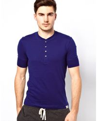 Paul by Paul Smith - Blue Short Sleeve Henley Tshirt for Men - Lyst