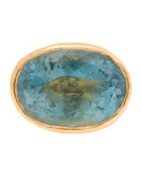 Ram | Blue 22k Gold Ring With Aquamarine Stone | Lyst