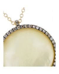 Roberto Marroni - 18kt Yellow Satinized Gold Surround Necklace With Lemon Quartz And Brown Diamonds - Lyst