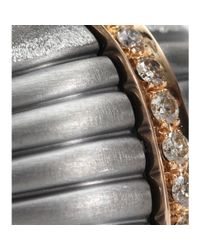 Roberto Marroni - Metallic Oxidized Sterling Silver Ring With Brown Diamonds Set On 18kt Rose Gold - Lyst