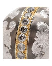 Roberto Marroni - Gray Niello Engraved Silver Ball Pendant Necklace With Grey Diamonds And 18kt Gold - Lyst