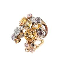 Federica Rettore | Metallic Citrine and Pink Sapphire Ombre V Ring | Lyst