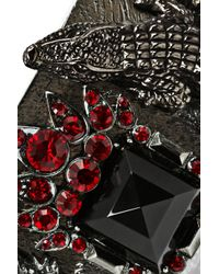Roberto Cavalli - Red Rhodium-Plated Swarovski Crystal Alligator Cuff - Lyst