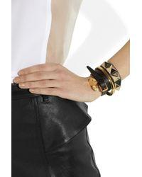 Alexander McQueen - Black Skull Charm Leather Wrap Bracelet - Lyst