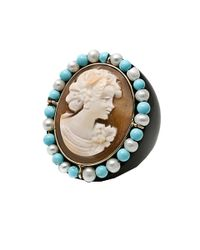 Amedeo - Blue Turquoise Pearl and Onyx Cameo Ring - Lyst