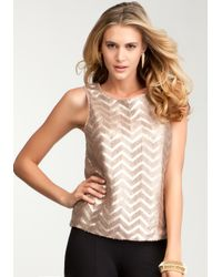 Bebe | Metallic Faux Leather Sequin Tank | Lyst