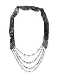 DIESEL - Metallic Stel Necklace - Lyst