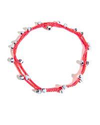 Venessa Arizaga - Pink Plaited Cord Skull Embellished Necklace - Lyst