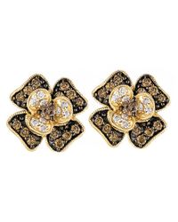 Le Vian | Yellow White And Chocolate Diamond Flower Stud Earrings (1/2 Ct. T.w.) In 14k Gold | Lyst