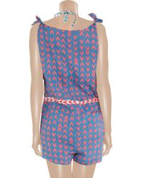 Mara Hoffman Blue Cotton-voile Playsuit