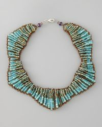 Panacea - Blue Beaded Statement Necklace - Lyst