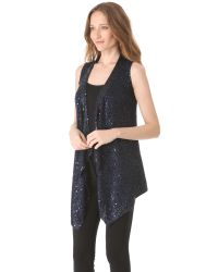 Donna Karan - Blue Sequin Long Drape Vest - Lyst