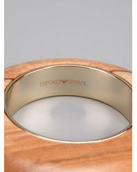 Emporio Armani - Brown Brand Embossed Bangle - Lyst