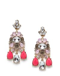 Mango - Pink Touch Crystal Embellished Chandelier Earrings - Lyst