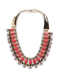 Mango - Pink Touch Crystal Embellished Necklace - Lyst