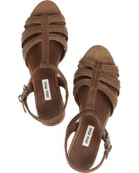 Miu Miu - Brown Stitch-Detailed Leather Sandals - Lyst